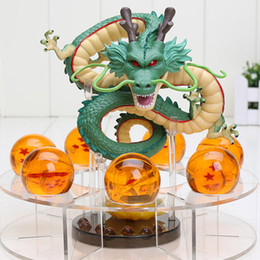 Wholesale Dragon Ball Z Shenron - Dragon Ball Z Shenron PVC Action Figures Toys Golden Green Dragon 7Pcs 3.5cm Dragonball Z Crystal Balls + Shelf Great Gift