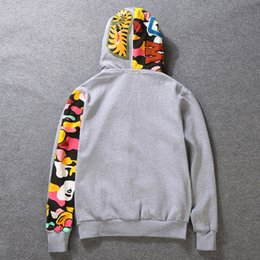 Wholesale double fleece - Wholesale 2018 shark Camo Hoodie and hoodies trend double zipper cardigan jacket with fleece