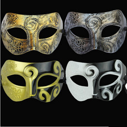 Wholesale Mens Silver Mask - Men's retro Greco-Roman Gladiator masquerade masks Vintage Golden Silver Mask silver Carnival Mask Mens Halloween Costume Party Mask