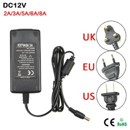 Wholesale Driver 12v 3a - 1Pcs 110-240V to DC12V 2A 3A 5A 6A 8A Switching Power Supply Transformers AC   DC Adapter Charger For LED Strip light Driver