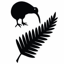Wholesale Bird Mirror Stickers - HotMeiNi Wholesale 11*15CM Kiwi Bird And New Zealand Fern Cartoon Car Styling Motorcycle Stickers