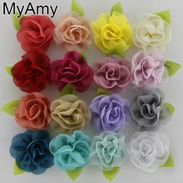 Cheveux rosette fille en Ligne-Myamy 100 pcs / lot filles cheveux accessoires coréen mousseline de soie fleur avec feuille verte roulé rosette sans pinces à cheveux livraison gratuite chapellerie