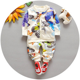 Wholesale Girls Spring Sports Jackets - 2016 Spring Autumn Baby Boy Girl Outfits Set 2pcs Outfit Butterfly Zipper Jacket + Pants Children Outdoor Sport Set K6280