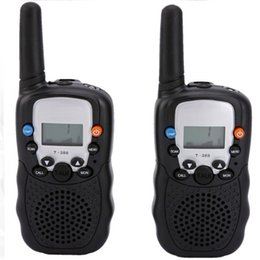 Wholesale Mini Radio Walkie Talkie - Wholesale-2pcs Walkie Talkie portable ham radio T-388 Black Mini Wireless LCD 5KM UHF VOX Multi Channels transceiver Way Radio