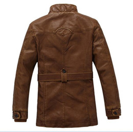Wholesale Quilt Collar - Winter Warm Thick Leather Jacket Men Stand Collar Padded PU Leather Jacket for Men Men's Jacket Quilt Jacket,DA307