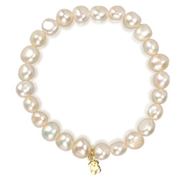 Wholesale Natural Pearl Silver Plated - TL Vintage Designer Natural Pink White Pearl Bear Bracelet Stainless Steel Brand Rope Bracelets For Party Gift