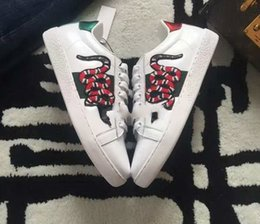 Wholesale Dress For Love - 2017 New Designer Fashion Snake Print For Love Sneakers Low Top Black And mens White dress Leather Men Women G Casual sports Shoes