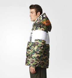 Wholesale Jackets Model Men - 2017 latest design kanyes clover fish shark camouflage down jacket men models thick jacket