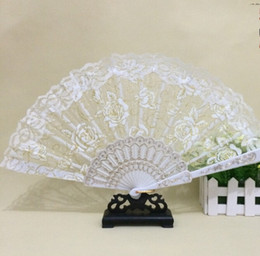 Wholesale Ivory Red Accessories - Wedding Fans Handmade Chinese Popular wing chun fan dance White rose bud silk fan Bridal Accessories