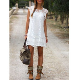 Wholesale Ladies Short Chiffon Dresses - Vestidos 2016 Summer Elegant ZANZEA Women Casual Solid Short Sleeve Slim Lace Mini Dress Tops Ladies Sexy White Dress Plus Size