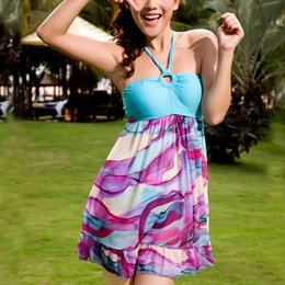 Wholesale Strapless Padded Push Up Swimsuit - Fahion Strapless Push Up Padded Swimwear Halter Neck Backless Swimsuit Women's Hot Spring Swiming Dress QBA149