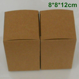 Wholesale Paper Craft Ornaments - 8*8*12cm Kraft Paper Wedding Favor Gift Packaging Box for Jewelry Ornaments Perfume Essential Oil Cosmetic Bottle Candy Tea DIY Soap Packing