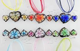 Wholesale Earring Murano - Fashion Hand made Lampwork Glass Jewelry Set Murano Glass Necklace Earrings 6set 3+1 silk cords Heart Flower earring & necklace