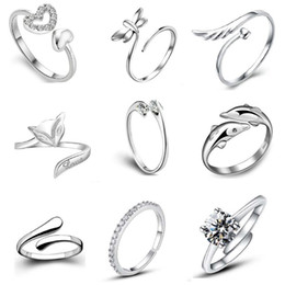 Wholesale ring finger girls - Top Grade Silver Band Ring Hot Sale Crystal Finger Rings For Women Girl Party Open Size Jewelry Wholesale Free Ship 0208WH