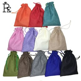 Wholesale Handmade Gift Bags - 15 *20cm 50pcs 12 Color Handmade Jute Drawstring Bags Pouch Burlap Wedding Party Christmas Gift Bags Jewelry Pouches Packaging Bags