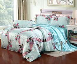 Wholesale King Size Peacock Bedding - Wholesale-4pcs Faux Silk feel Printed Bedding set Duvet cover set Twin&Queen&King size Mixed colors Summer Bedding Peacock blue