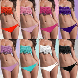 Wholesale Girls Dolly - SEXY girl & lady Padded boho fringe strapless dolly bikini Swimwear Beachwear bathing suit