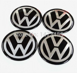 Wholesale Vw Decals - Free shipping 1set=4pcs Aluminum VW Volkswagen wheel center cap emblem badge decal stickers wheel hub stickers 56.5MM