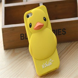 Wholesale Iphone4 Silicon Cover - Cute Small Yellow Duck Silicon Soft material Thin Protective Back Cover Case For iPhone4 5 6 6plus