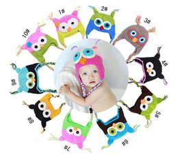 Wholesale Crochet Monkey Baby Beanie - Baby Girl Boy Owl Monkey Ear Flap Crochet Hat Children Handmade Crochet OWL Beanie Hat Handmade OWL Beanie Kids Hand Knitted Hat