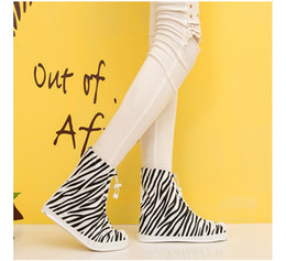 Wholesale Plastic Shoe Rain Covers - PVC overshoes women rain boots galoshes reusable shoe covers zebra print waterproof wear directly washed 4colors