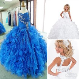 Wholesale New National Pageant Dresses Blue - New Collection 2016 Real Sample Ball Gown Sexy Ritzee Girls Girl's National Pageant Dresses Prom Gown