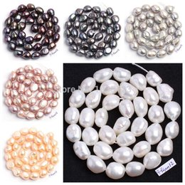 "Wholesale Wholesale Loose Pearl Strands - Wholesale-Free Shipping Natural 6 Color 9-10mm multicolor Freshwater Pearl Irregular Shape Loose Beads Strand 15"" Jewellery Making wj89"
