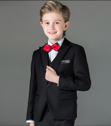 Wholesale Prom Suits Boys - New Arrival Boy Tuxedos Peak Lapel Children Suit Royal Blue Red Black Kid Wedding Prom Suits (Jacket+Vest+Pants+Bow Tie+Shirt) NH3