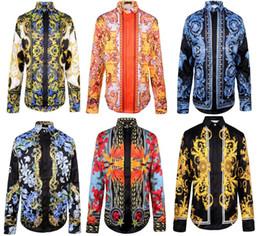 2015 moda nuevos hombres marca camisas pista look impresión de manga larga más tamaño camisa ropa de hombre CHLG03 desde fabricantes