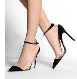 Wholesale Pink Transparent Dress Women - Super Star Candy color stiletto heel Dress Shoes Transparent Shoes High Heel High Quality Black Yellow Pink Orange Free Shipping