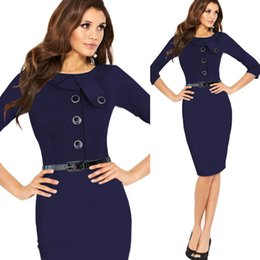 Wholesale Pinup Plus - 2016 New arrival women Formal button Pencil Vintage Pinup Bodycon Fitted Party Shift Sheath Plus size Knee-Length Work Dress