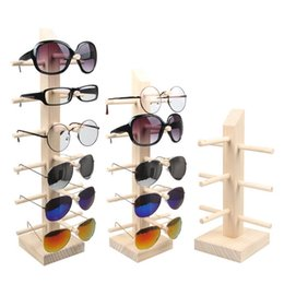 Wholesale Glass Jewelry Showcase - Professional Multi-Size Wood Sunglass Display Rack Shelf Eyeglasses Show Stand Jewelry Holder for Multi Pairs Glasses Showcase