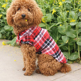 Wholesale cute red jackets - 3 colors Cute Pet plaid shirts Pet Clothes button Puppy Coat Dog Apparel Pet Supplies for Spring summer Autumn 240162