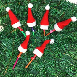 Wholesale Mini Santa Hats - 10pcs Set Mini Christmas Hat Santa Claus Hat Xmas Lollipop Hat Mini Wedding Gift Creative Caps Christmas Tree Ornament Decor