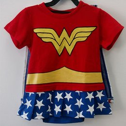 Wholesale Tutu Embroidery - Newborn Baby Girls Romper Baby Wonder Woman Costumes Toddler With Cloak Embroidery Cotton Short Sleeves Summer