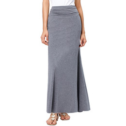 Wholesale Long Aline Skirts - Wholesale- High Waist Pleat Long Skirt Black Grey New Fashion 2017 Autumn Winter Cotton Women Maxi Skirt Aline Floor Length Skirts Saia