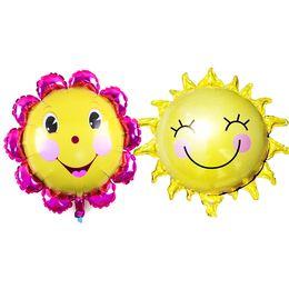 Canada Gros arrivants en gros mignon visage de sourire Ballon de tournesol Baby Shower Foil Golden Balloon Partie / Anniversaire / Décoration de Mariage Livraison Gratuite cheap sunflower decorations wholesale Offre