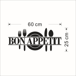 Wholesale Vinyl Wall Word Decals - Black Words Bon Appetit Art Mural Kitchen Room Decoration Sticker Dinner Room Wallpaper Decoration Classic Tableware Home Decor Poster