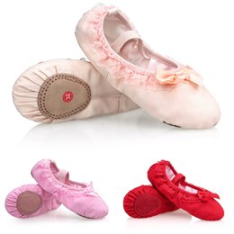 Wholesale Baby Girls Ballet Shoes - Baby girls Ballet Flat Shoes Canvas Dance Shoes Soft Full Split Sole for Kids toddler ballet slippers