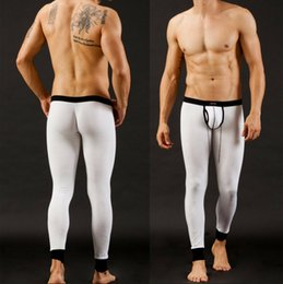 Wholesale Tight Sexy Pajamas - Wholesale-Soft stretch leggings tight underwear men sleep bottoms modal Sexy line low waist warm pants thin pajamas