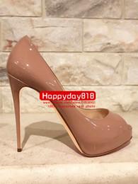 Spedizione gratuita moda donna pompe Nude nero vernice Lady Peep toe piattaforma tacchi alti stivali 120mm vera pelle da