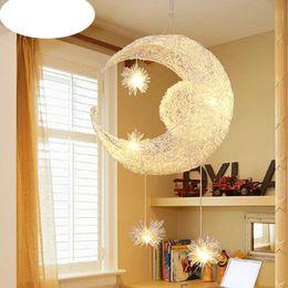 Wholesale Kids Room Pendant Light - Creative Aluminum Pendant Light Moon Star Children Kid Child Bedroom Pendant Lamp Chandelier Light Ceiling light Modern Balcony Lamp
