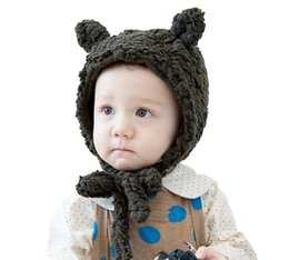 Wholesale Crochet Hats For Girls - Kid Hats Solid Color Cute Thick Wool Boys Girls Caps With Two Ears for 1-6 years old