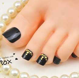 Wholesale Toe Nail Art Accessories - Wholesale-Free Shipping 24 piece box 3D Toes Nail Stickers black style Toe False Nail Tips Acrylic Art Decals Decoration Accessories J45