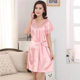 Wholesale Silk Pyjama Dress - Wholesale- Sexy Silk Night Dress Lace Plus Size Short Sleeve Pyjamas Women Nightwear Sleepwear Nuisette Female Nightgown Pijamas 80077
