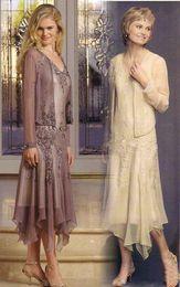Canada Appliques magnifiques perles mère de la robe de mariée robes avec veste manches longues illusion une ligne de thé longueur robe mère du marié Offre