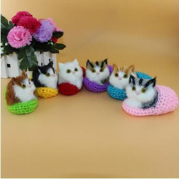 Wholesale Cloth Slippers - New Simulation Model Sound Kitty Cartoon Plush Toys Christmas Ornaments Knitted Slippers Cat Model Decoration Stuffed Animals CCA8211 50pcs