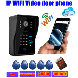 Wholesale Door Alarm Ip - wireless touch waterproof IP wifi Video door phones intercom door bell ip cloud p2p android ios APP w  unlock alarm motion detection