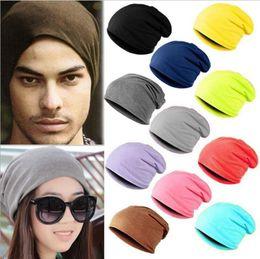 Wholesale Men Head Warmer - Candy Color Solid Head Hat Men Women Turban Hats Warm Hip-Hop Knit Beanies Warm Ski Crochet Slouch Cap 18 Colors OOA3786