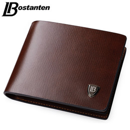 Wholesale New Mens Photos - Bostanten New Men Short Wallets Black Brown Bifold Wallet Mens Brand Leather Card Holder Money Cash Wallet Purses Pockets